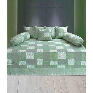 Akash Ganga Cotton Green Diwan Set (Pack of 8) (K42)