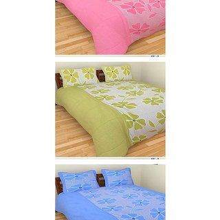 Akash Ganga Combo of 3 Cotton Double Bedsheets with 6 Pillow Covers (K47)