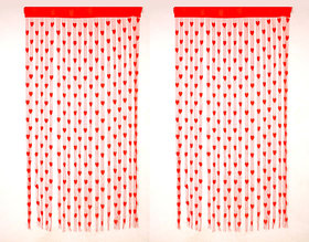 Geonature Red Heart Curtain Set Of 2 Size 4x7 (GHC2-49)