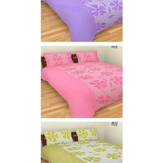 Akash Ganga Combo of 3 Cotton Double Bedsheets with 6 Pillow Covers (K49)