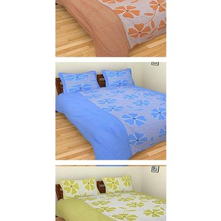 Akash Ganga Combo of 3 Cotton Double Bedsheets with 6 Pillow Covers (K51)