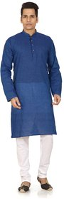 Trustedsnap White & Blue Cotton Plain Kurta Pyjama Sets For Men