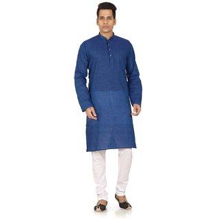 Trustedsnap White & Blue Cotton Plain Kurta Pyjama Sets For Men