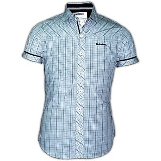 Blacksoul Mens Checkered Full Sleeve in blue 100 Cotton Casual Shirt