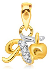 VK Jewels Alphabet Collection Initial Pendant Letter A Gold and Rhodium Plated- P1526G VKP1526G