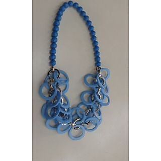 Blue Beaded Metal Necklace For Women