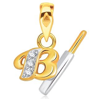 VK Jewels Alphabet Collection Initial Pendant Letter B Gold and Rhodium Plated- P1527G VKP1527G