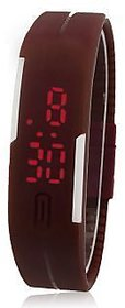 Led Digital Brown Dial Watch With Magnet Lock