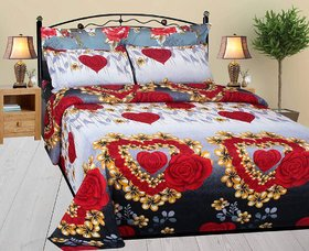 BSB 3D Heart print poly cotton Double Bed sheet with 2 Pillow cover