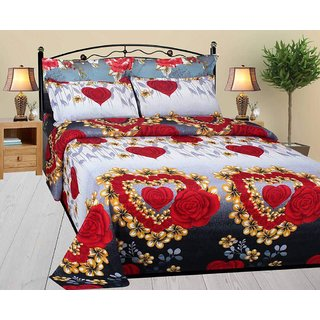 K Decor Polycotton 3D Heart Print Double Bedsheet With 2 Pillow Covers   90  Inches *