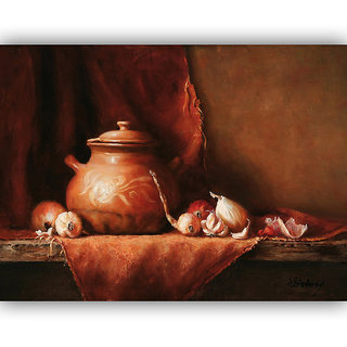 Vitalwalls Still Life Painting Canvas Art Print, Wooden Frame. Static-203-F-45 cm