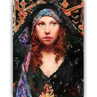 Vitalwalls Portrait Painting Canvas Art Print. Western-385-30cm