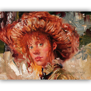 Vitalwalls Portrait Painting Canvas Art Print, on Wooden FrameWestern-396-F-30cm