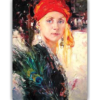Vitalwalls Portrait Painting Canvas Art Print, on Wooden FrameWestern-379-F-45cm