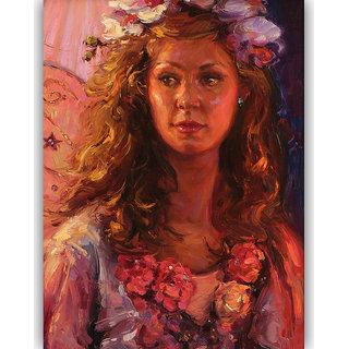 Vitalwalls Portrait Painting Canvas Art Print, on Wooden FrameWestern-504-F-60cm