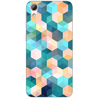 1 Crazy Designer Blue Hexagon Pattern Back Cover Case For HTC Desire 626S C950277