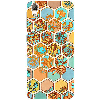 1 Crazy Designer Floral Hexagon Pattern Back Cover Case For HTC Desire 728 C960283