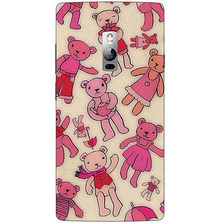 1 Crazy Designer Teddy Pattern Back Cover Case For OnePlus Two C1000263