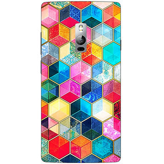 1 Crazy Designer Coloured Hexagons Pattern Back Cover Case For OnePlus Two C1000275