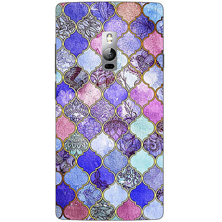1 Crazy Designer Purple Moroccan Tiles Pattern Back Cover Case For OnePlus Two C1000291