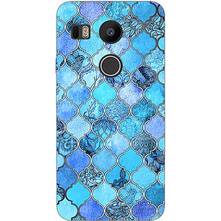 1 Crazy Designer Blue Moroccan Tiles Pattern Back Cover Case For LG Google Nexus 5X C1010287