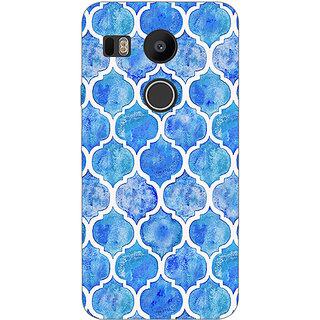 1 Crazy Designer White Blue Moroccan Tiles Pattern Back Cover Case For LG Google Nexus 5X C1010296