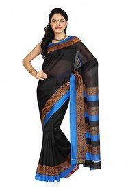 Parchayee Black Silk Striped Saree With Blouse