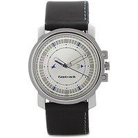 Fastrack Round Dial Black Leather Strap Mens Quartz Watch