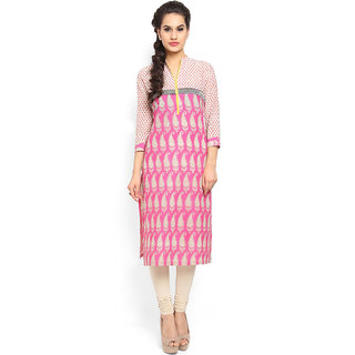 Pink  Beige Printed V Neck Cotton Kurti