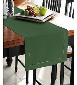 Lushomes Plain Vineyard Green  Double Border Holestitch Table Runner