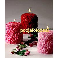 valentine wedding day Rose Pillar Candles Unscented Hand Made With Paraffin Wax