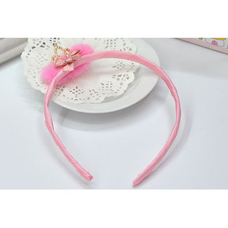 Designer Pink Hair Tiara Style Hair Band with Fur