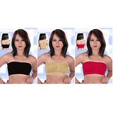 763fe670700c2 RR ACCESSORIES Combo of 3 College Girl Seamless Strapless Bandeau Top Tube  Bra Lingerie - Free Size - Black