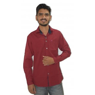 Maroon Plain Casual Shirt
