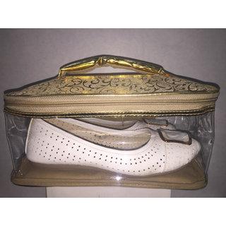 Ladies Fancy Shoe/Sandal Bag in Glittery Golden Style