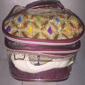 Ladies Fancy Shoe/Sandal Bag with Double Partition in Embroidered Style
