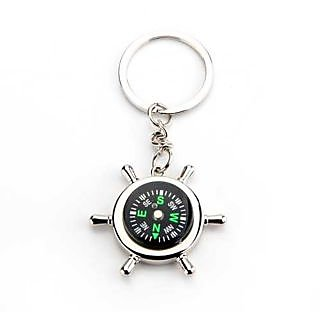 Silver Metallic Key Chain with Compass for Car Auto Bike Cycle Home Key Ring