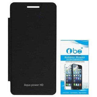 TBZ Flip Cover Case for Intex Aqua Power HD with Tempered Screen Guard -Black
