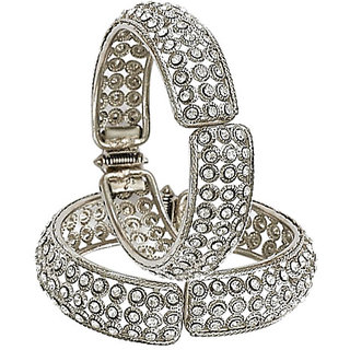Xcite set of 2 Ravishing Studded Bangles - Silver Finish - Free Size - XBG124P