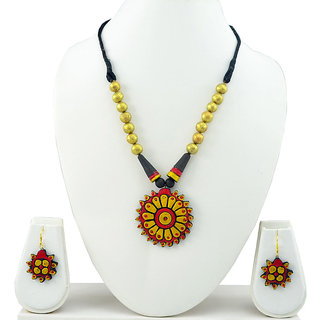 Green Designer Pink and Yellow Terracotta Necklace Set
