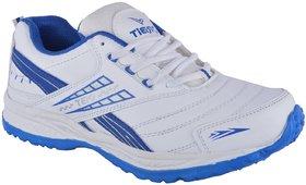 Orbit Mens White Blue Lace-Up Training Shoes