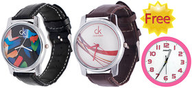 Buy Pack Of 2  Wrist Watch And Get Wall Clock Free