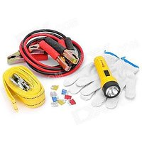 Traders5253 5-in-1 Tow Rope Battery Cables Gloves Flashlight Car Emergency kit