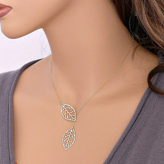 2016 Design Elegant Double Leaf Silver Metal Chain Necklaces  Pendants