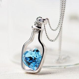 Womens Crystal Love Heart Drift Bottle Pendant Necklace  Blue