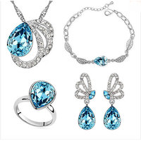 Blue Crystal Jewerly Sets Full CZ 925 Silver Wedding Accessories Ruby