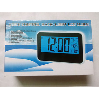 Big Digital 9in 1 Voice Control Back-Light LCD Alarm Date Temperature Desk Clock