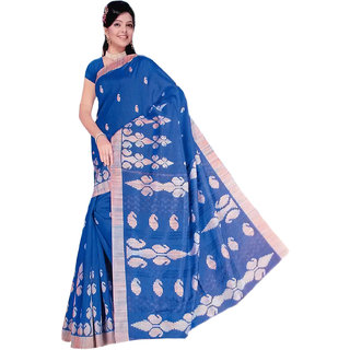 RoopSangam Stylish Printed Blue Cotton Silk Saree (Daliy And Party Wear)