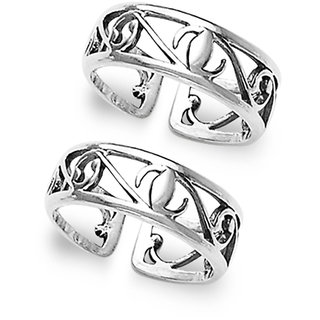 Sterling Silver  Cutwork Toe Ring By Taraash