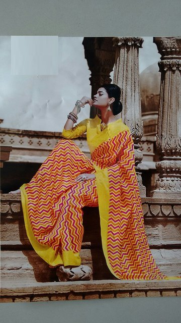 Red Yellow Weightless Designer Poonam Chiffon Saree With Blouse Piece